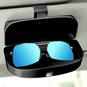 Футляр під очки в авто Чорний 16,5*4*4,5 см магніт всередині (відкривається при натисканні з верху)