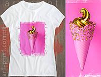 Футболка біла жіноча з принтом Ice Cream, фото 1