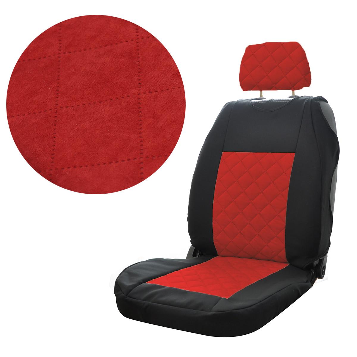 """Майка чорна/червона передня автоткань """"MAX"""" (закрита/2 підг-ка/центр Алькантара)"""