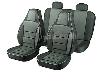 """Чехлы """"PILOT"""" 2111/2112/Priora HB/Chevrolet Niva /Калина  ткань черн. + ткань черно/ серая"""