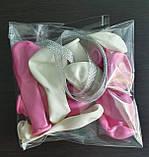 Набір повітряних рожевих куль для прикраси автомобіля на дзеркалах - 10 шт. + 1 м срібною стрічки, фото 4