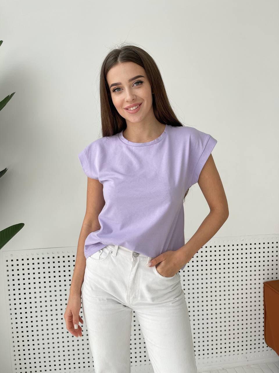 Женская футболка лавандовая трикотажная