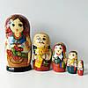 Матрьошка українська сім'я , дерево , ручний розпис , 18 см.