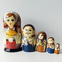 Матрьошка українська сім'я , дерево , авторський розпис , 18 див., фото 1