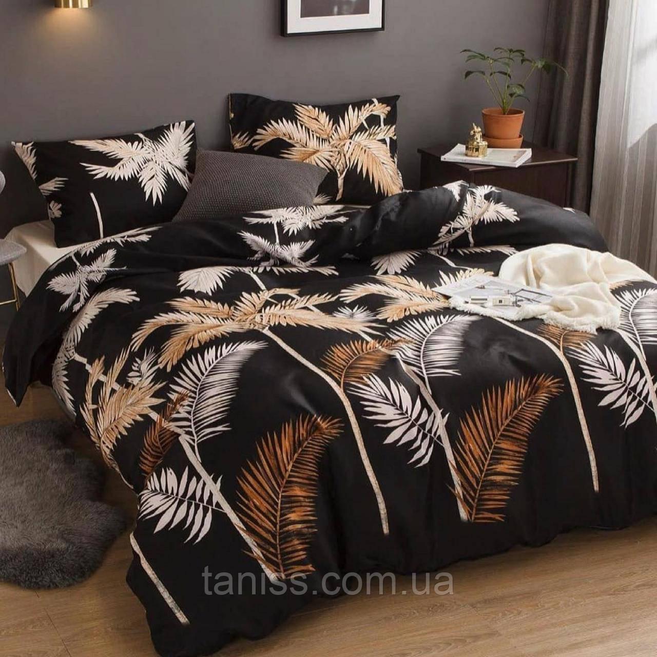 Двухспальный набор постельного белья Бязь Голд, расцветка как на фото, листья папоротника