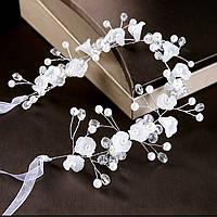 Обідок-декор для волосся з квіточками, перлами та камінням 30*7см, фото 1