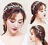 Ободок декоративный для волос с цветочками, жемчугом и бусинами 30*7см