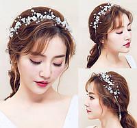Ободок декоративный для волос с цветочками, жемчугом и бусинами 30*7см, фото 1