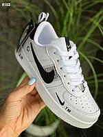 Кеды Nike Air Force белые с черными вставками, женские кроссовки/ кеды на лето