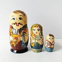 Матрьошка українська сім'я в етнічному одязі , дерево , розпис , 11 см., фото 1