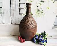 Глиняний бутель ручної роботи для вина з різьбленням h 45 см V 7 л, фото 1