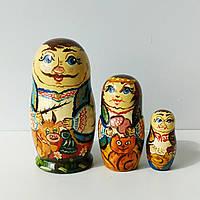 Матрьошка українська сім'я , етнічні мотиви , дерево , розпис , 11 см., фото 1