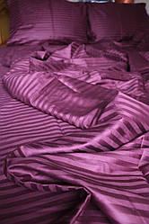 Семейный набор постельного белья из страйп-сатина, 100% хлопок, цвет фиолетовый