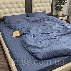 Двухспальный набор постельного белья из страйп-сатина, 100% хлопок, цвет серый