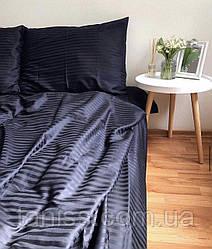 Двухспальный набор постельного белья из страйп-сатина, 100% хлопок, цвет  черный