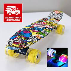 Скейт Пенни борд Penny Board Print со светящимися колесами Стикер 54 см