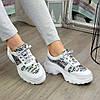 Кросівки жіночі на шнурівці, колір білий/літера, фото 3