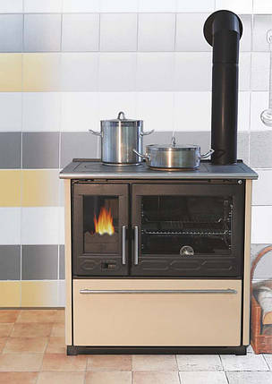 Чугунная и сталная печь-камин PLAMEN 850 GLAS-белый 10кВт печи чугунные отопительно варочные для дома и дачи, фото 2