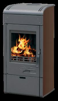 Чугунная и сталная печь-камин PLAMEN VESTA-коричневый 8кВт печи чугунные отопительно варочные для дома и дачи