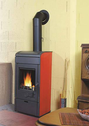 Чугунная и сталная печь-камин PLAMEN VESTA-коричневый 8кВт печи чугунные отопительно варочные для дома и дачи, фото 2
