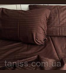 Двухспальный набор постельного белья из страйп-сатина, 100% хлопок, цвет  шоколад