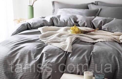 Евро набор постельного белья из страйп-сатина, 100% хлопок, цвет светло-серый