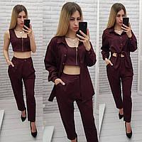 Модный женский костюм тройка - брюки, топ и рубашка, арт 425, цвет марсала