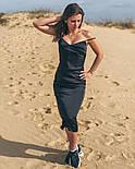 Літній шовкове плаття міді на тонких бретельках, фото 5