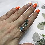 Аквамарин кольцо с аквамарином в серебре 18 + - регулируется размер Индия, фото 4