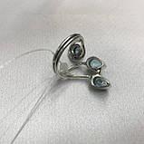 Аквамарин кольцо с аквамарином в серебре 18 + - регулируется размер Индия, фото 8