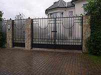 Ворота розпашні, зашивання полікарбонат, фото 2