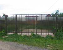 Ворота розпашні, зашивання полікарбонат, фото 6