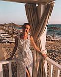 Літній сарафан в горошок білого кольору з поясом, фото 5