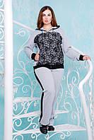 Костюм спортивный с гипюром цвет серый Наоми (54-60р)