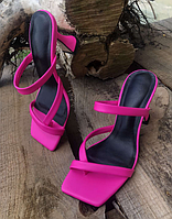 Шлепанцы женские кожаные фуксия на каблуке
