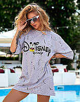"""Платье-футболка свободного кроя с принтом """"Микки"""", фото 1"""