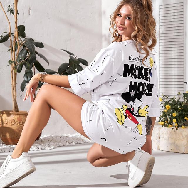 """Платье-футболка свободного кроя с принтом """"Микки"""""""