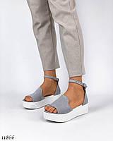 Босоножки/ туфли женские на платформе светло-серого цвета с белой подошвой, натуральный замш. Турция