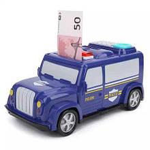 Детский сейф с кодом и отпечатком пальца в виде полицейской машины 589