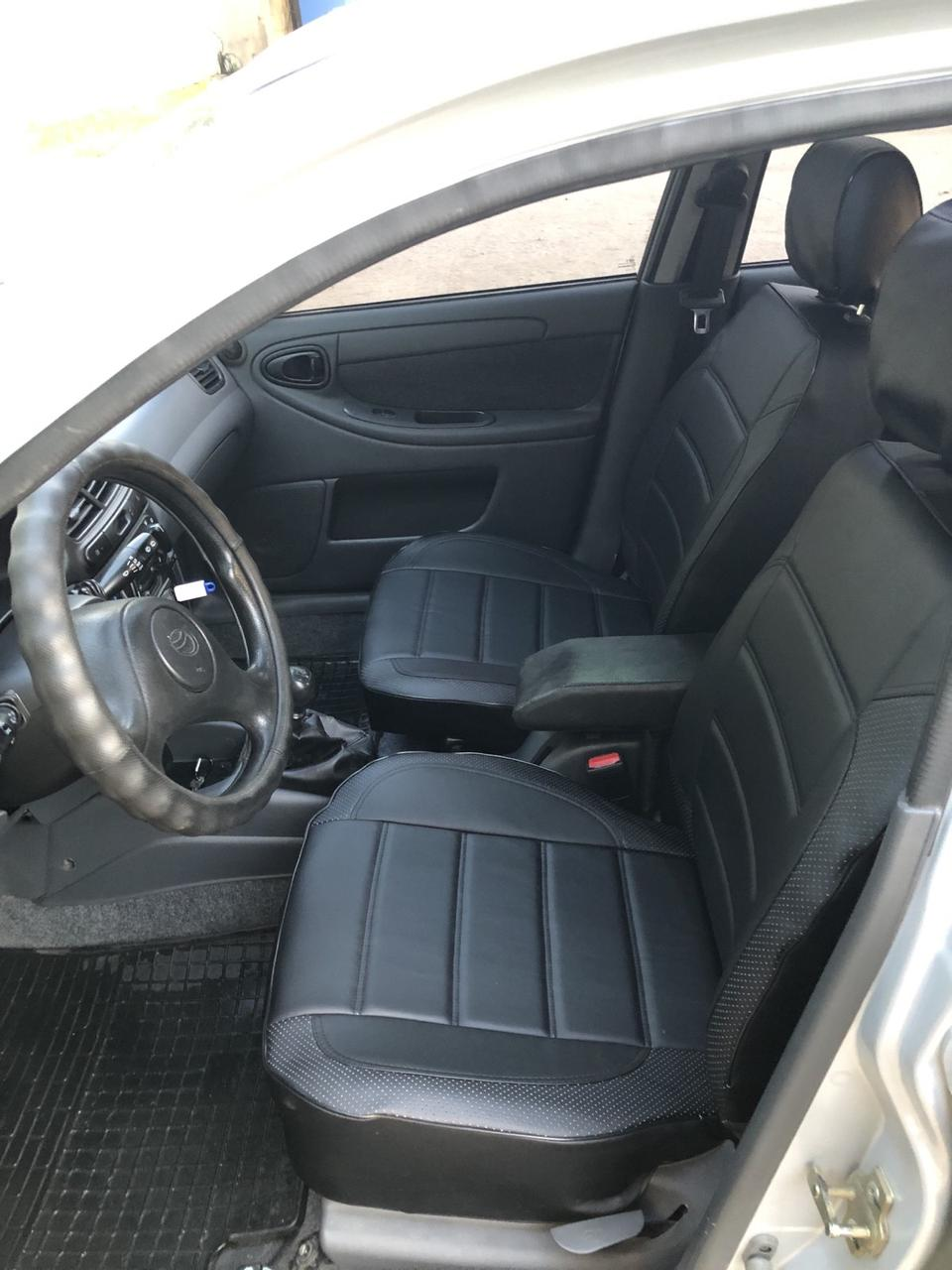 Чохли на сидіння ВАЗ Лада 2110 (VAZ Lada 2110) модельні MAX-L з екошкіри Чорний Чорно-білий