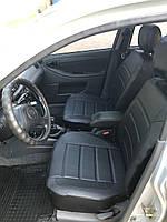 Чохли на сидіння Ніссан Тііда (Nissan Tiida) модельні MAX-L з екошкіри Чорний Чорно-білий, фото 1