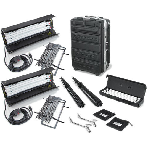 Kino Flo Dual Diva-Lite 201 Fixtures with Flight Case Kit (230VAC) (KIT-D22-230)