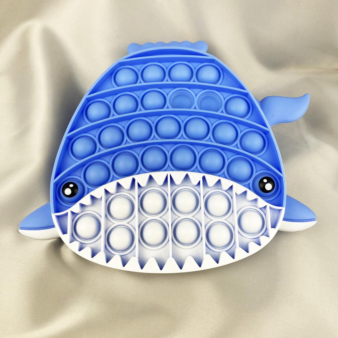 Поп Іт Іграшка антистрес POP IT кінетична силіконова іграшка Акула