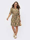 Платье-рубашка в цветочном принте из льна ЛЕТО, фото 2