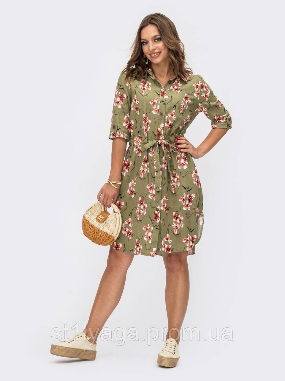 Платье-рубашка в цветочном принте из льна ЛЕТО