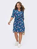 Платье-рубашка в цветочном принте из льна ЛЕТО, фото 4