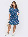 Платье-рубашка в цветочном принте из льна ЛЕТО, фото 5
