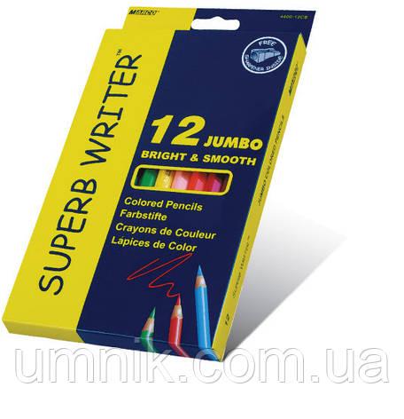 """Олівці кольорові 12 кольорів MARCO 4400-12CB Superb Writer """"Jumbo"""" + точилка, фото 2"""