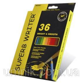 Карандаши цветные 36 цветов MARCO 4120-36CB Superb Writer Aquarelle, акварельные с кисточкой, фото 2