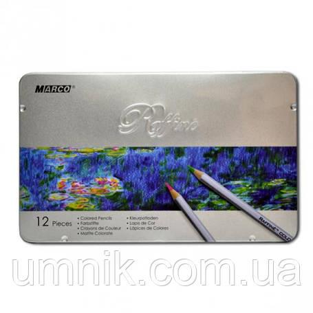Карандаши цветные 12 цветов MARCO 7100-12TN Raffine металлизированные, металлическая упаковка, фото 2